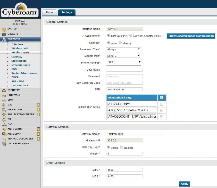 Cyberoam wwan settings for telstra internet