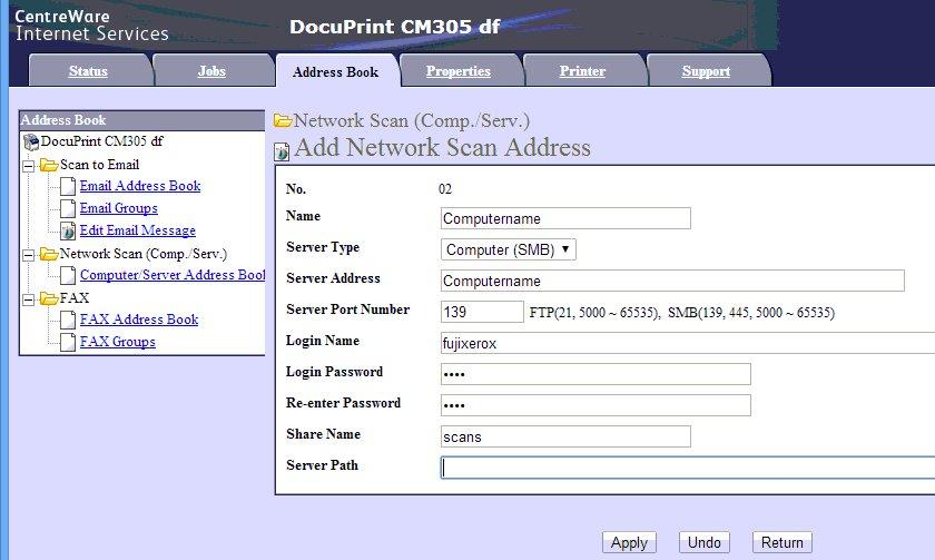 FujiXerox SMB scan settings