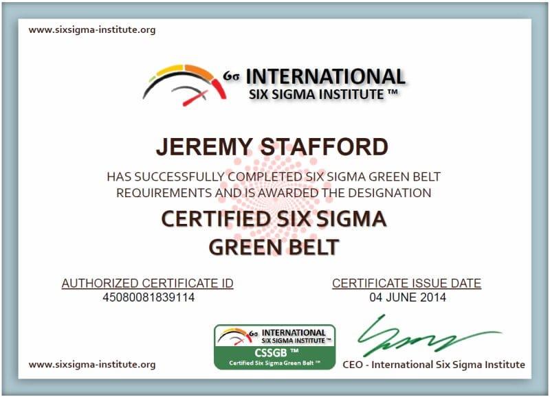 Six sigma green belt certificate